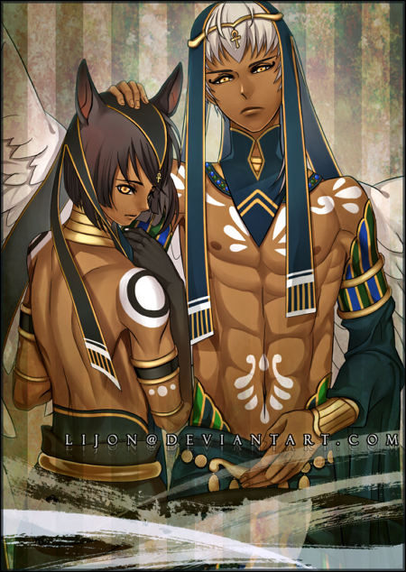 Anubis Ma'at e Thoth Caduceus. Anime: Kamigami no asobi.