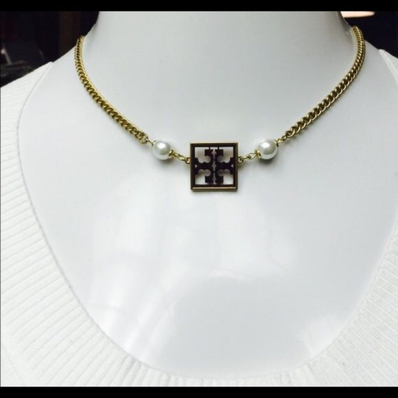 """Tory Burch Gold Tone 20"""" Tortoise & Pearl Necklace STUNNING! Authentic Tory Burch Gold- Tone Square Tortoise Shell & Faux Pearl Necklace- 20"""" in Length with Lobster Claw Closure. Comes in generic black velvet jewelry pouch. Retails $125.00 Tory Burch Jewelry Necklaces"""