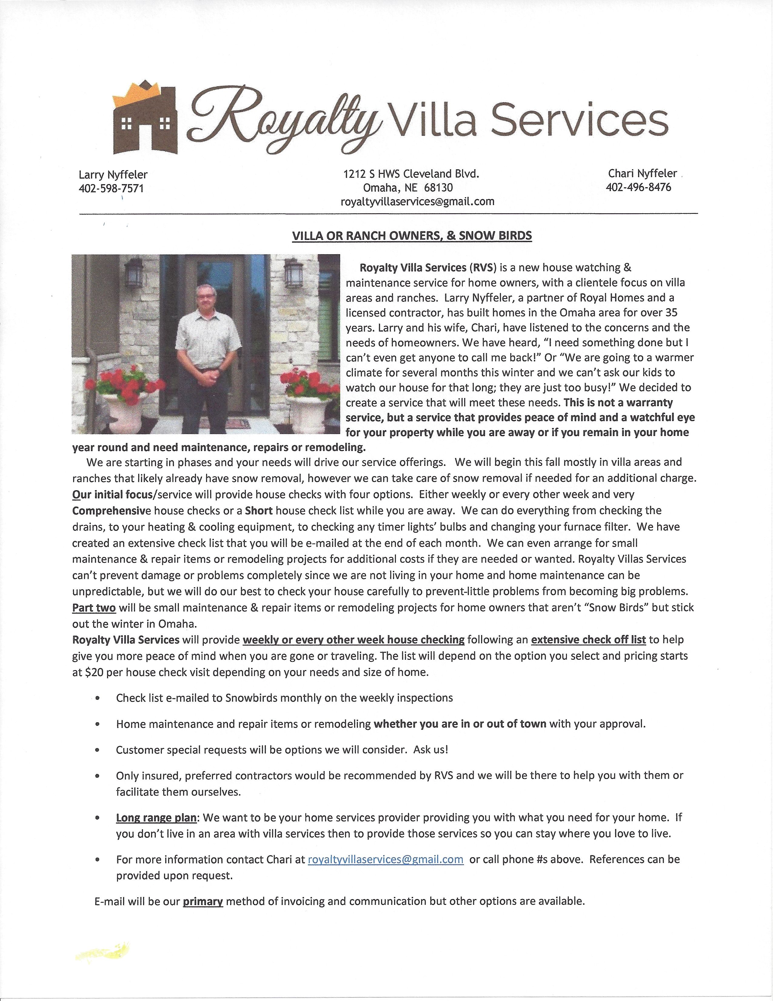 Royalty Villa Services Is A New House Watching Maintenance Service For Home Owners This Is A Great Service For Snow Birds New Homes Homeowner Empty Nesters