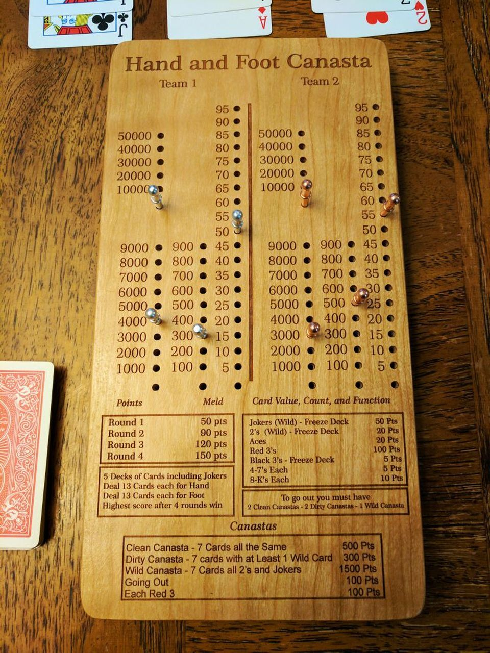 Hand and foot canasta scoreboard card games family card