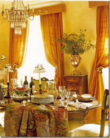 French Country Dining Room With Classic Trophy Cup Flower Piececandelabrasand Ruched Drapes And Table Cloths