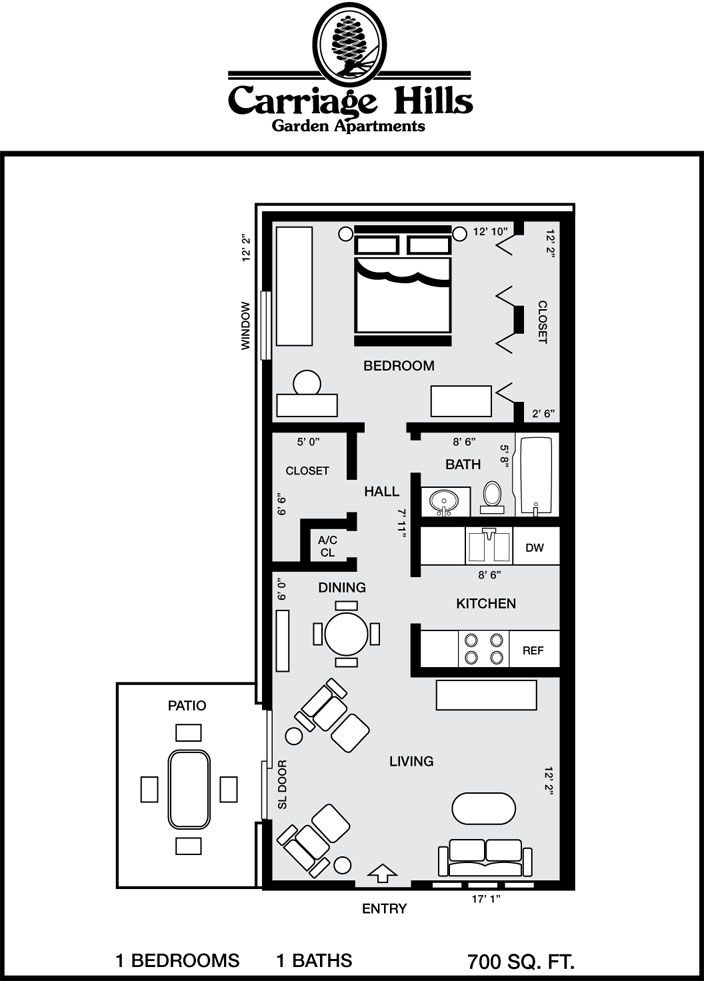 700 Square Feet Apartment pensacola apartment floor plans | estudiantes | pinterest