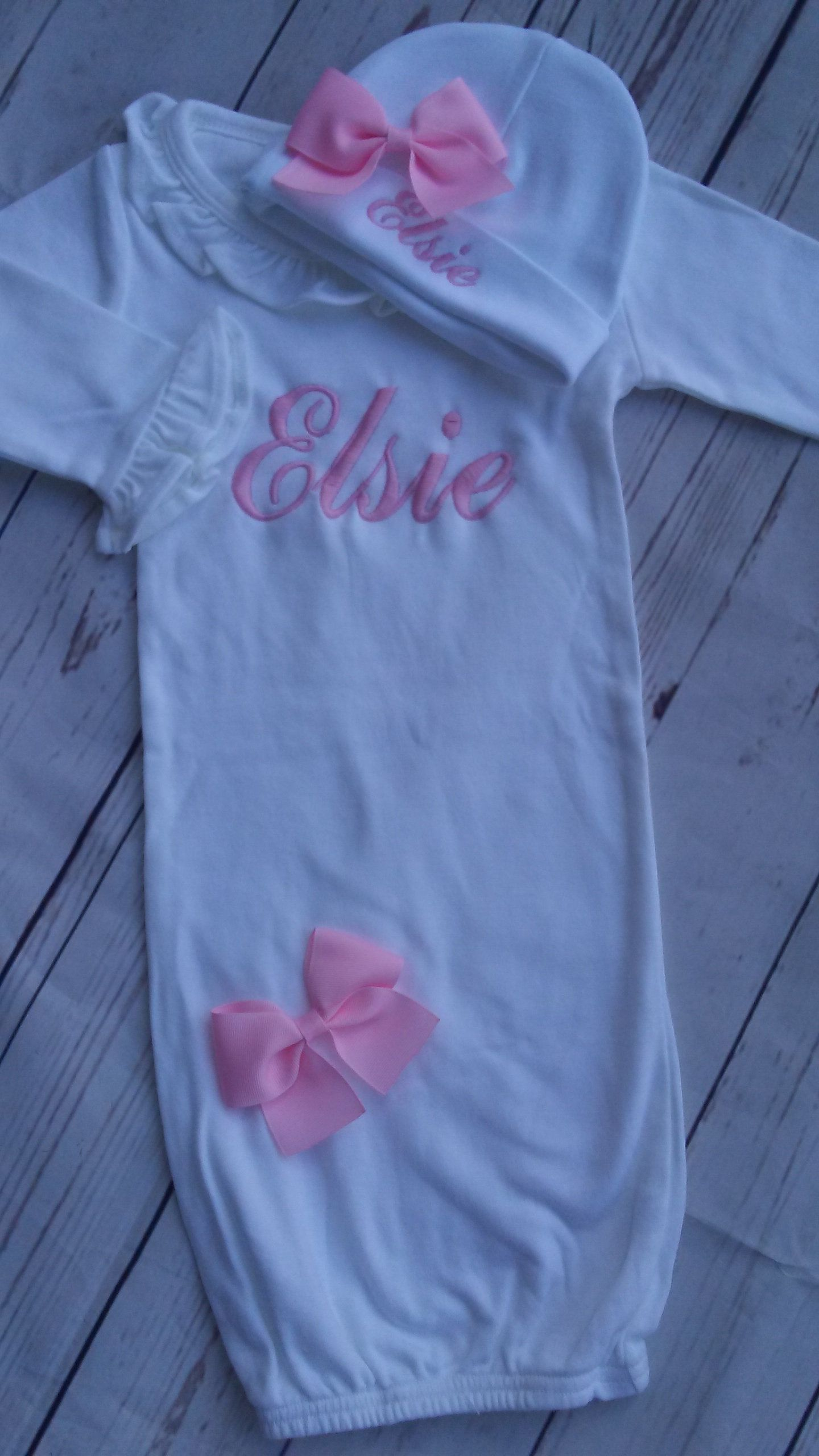 Baby girl layette gown newborn hat personalized baby gift layette ...