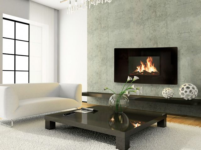 Celsi 39-In Curved Black Wall Hanging Modern Electric Fireplace ...