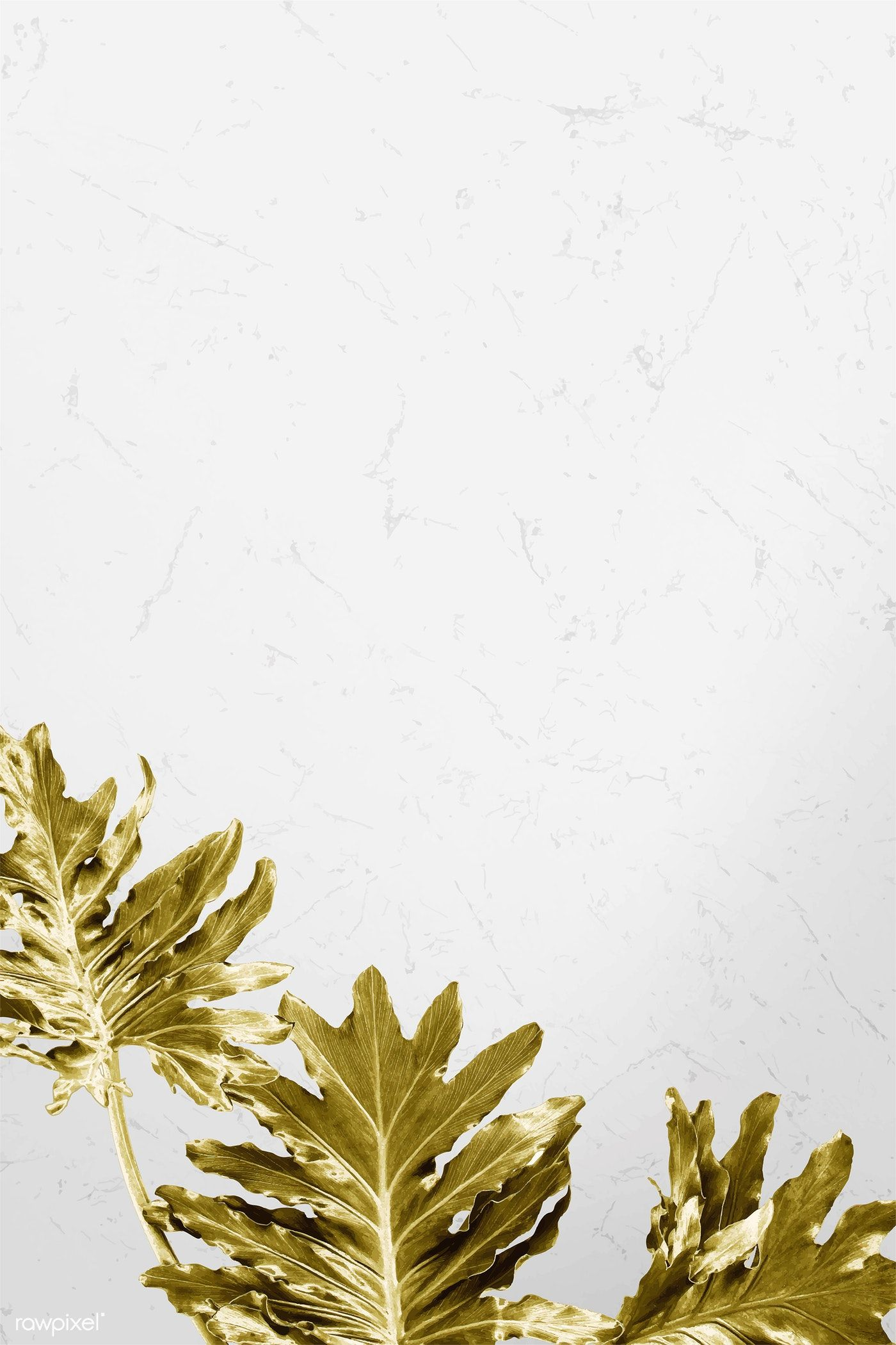 Download Premium Vector Of Gold Philodendron Xanadu Leaves On White Marble White Marble Background Philodendron Marble Background
