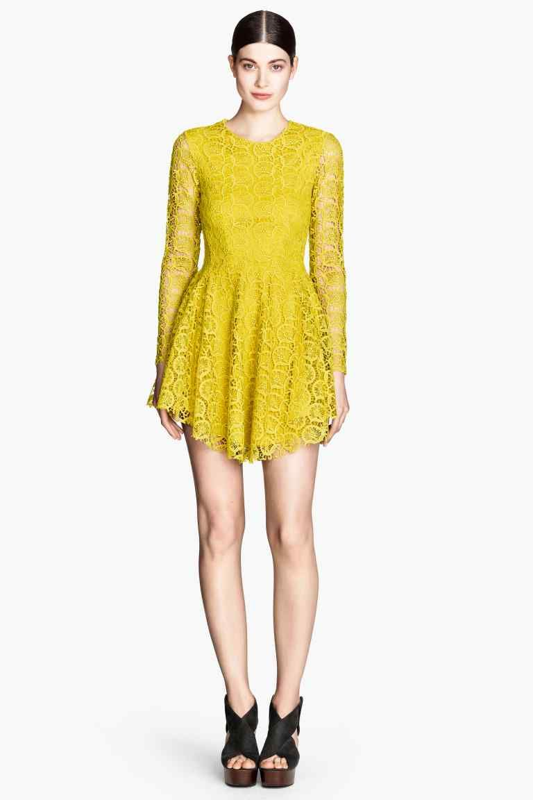 H&m yellow lace dress  loveeeee Abito a ruota in pizzo  HuM  My Style  Pinterest  Robe