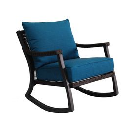 Allen + Roth Netley Brown Steel Slat Seat Patio Rocking Chair
