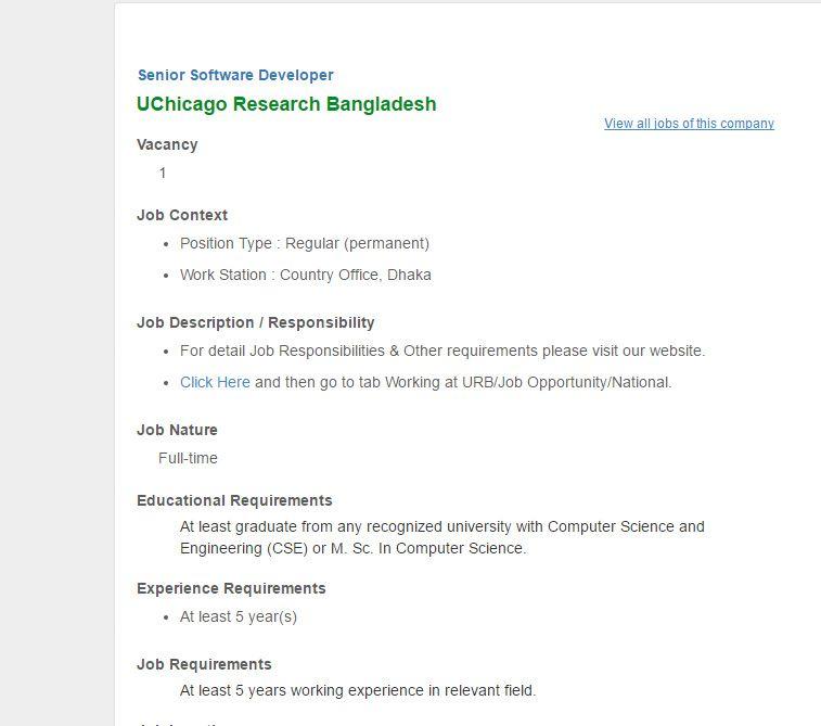 UChicago Research Bangladesh Senior Software Developer Job Circular  December 2016 | VACANCY