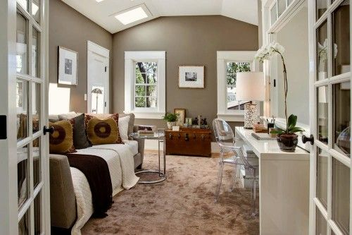 Bedroom. Paint color is Woodcliff Lake 980 by Benjamin Moore