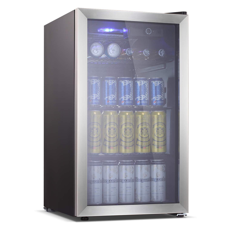 Antarctic Star Beverage Refrigerator Cooler 100 Can Mini Fridge Glass Door For Soda Beer Or Wine Smoked Glass Door Small Drink Dispenser Machine For Home O In 2020