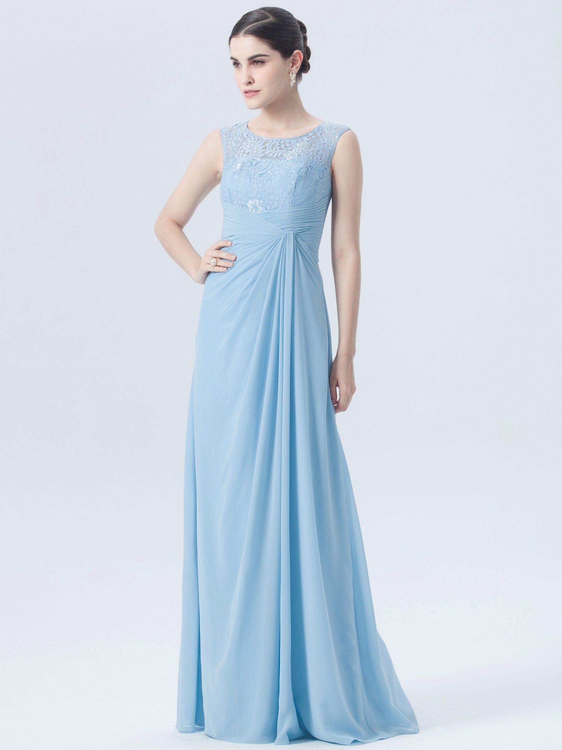Illusion Neckline Lace Chiffon Dress | Plus and Petite sizes ...
