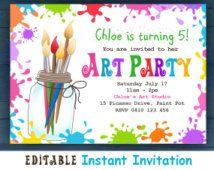 Editable Printable Art Party Invitation Children S Invitations Bright Colorf Printable Art Party Invitations Paint Party Invitations Art Party Invitations