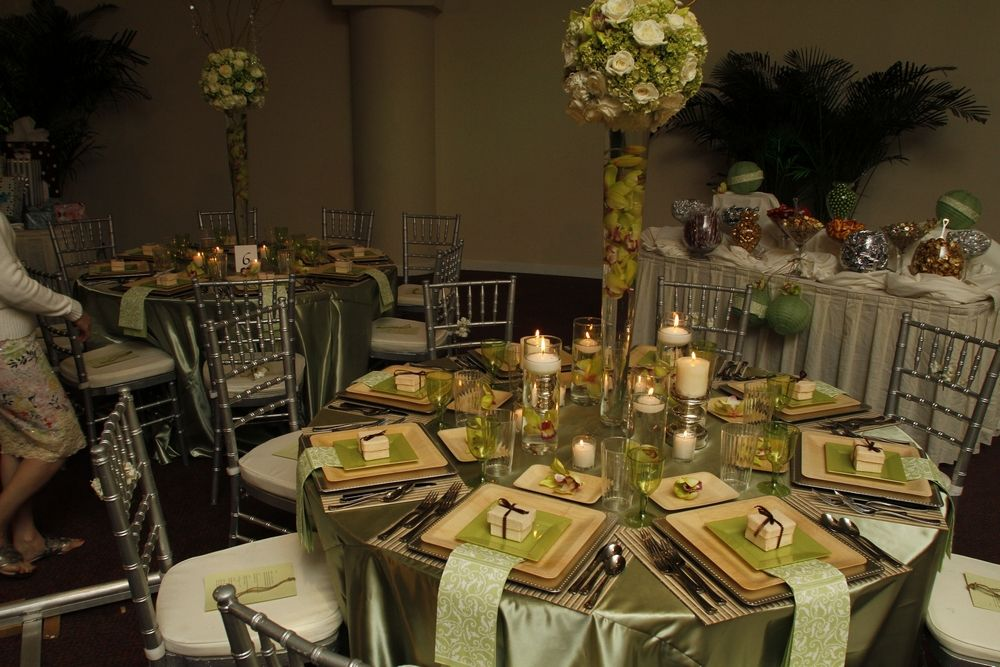 Reception With A Sage Green And Natural Wood Wedding Color Palette