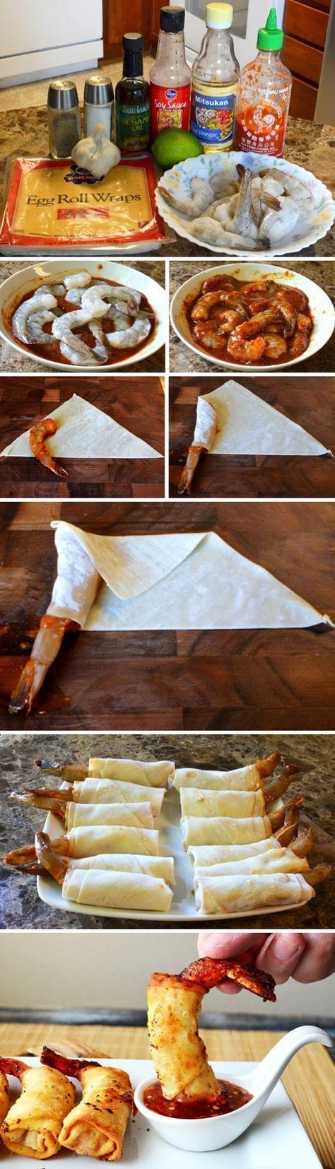 Marinade - Crevette - Feuille de brique