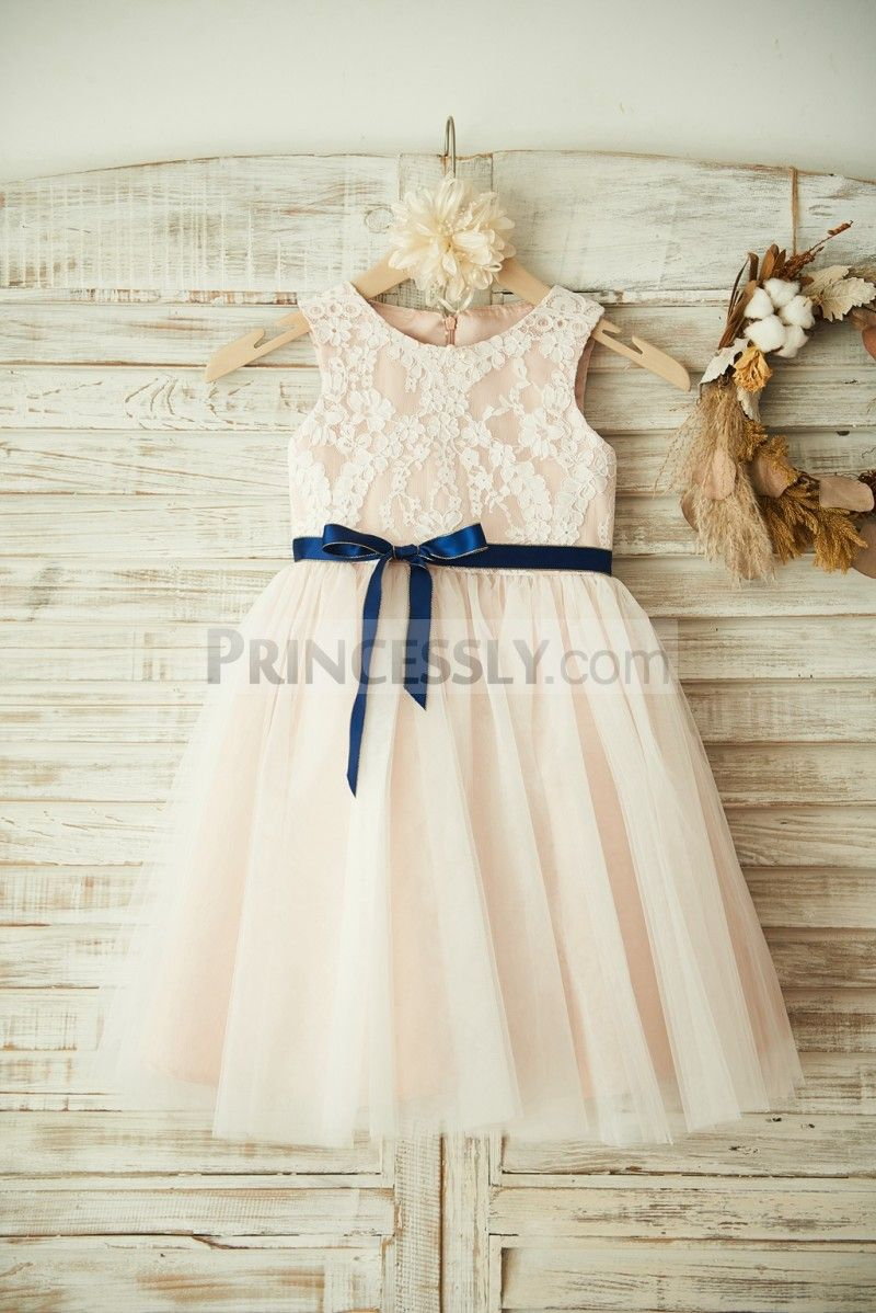 Ivory Lace Tulle Pink Lining Wedding Flower Girl Dress With Navy