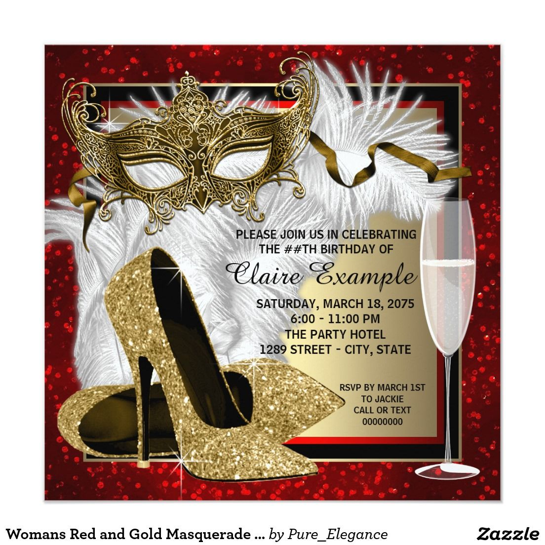 Womans Red and Gold Masquerade Party Card | Masquerade party ...