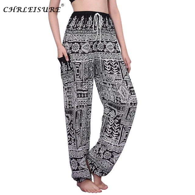 Women Lace Up Harem Pants High Waist Pantalon Femme Bohemian Printed Beach Loose Trousers Women S-Xl Women Lace Up Harem Pants High Waist Pantalon Femme Bohemian Printed Beach Loose Trousers Women S-Xl Woman Trousers printed woman loose trousers at the waist