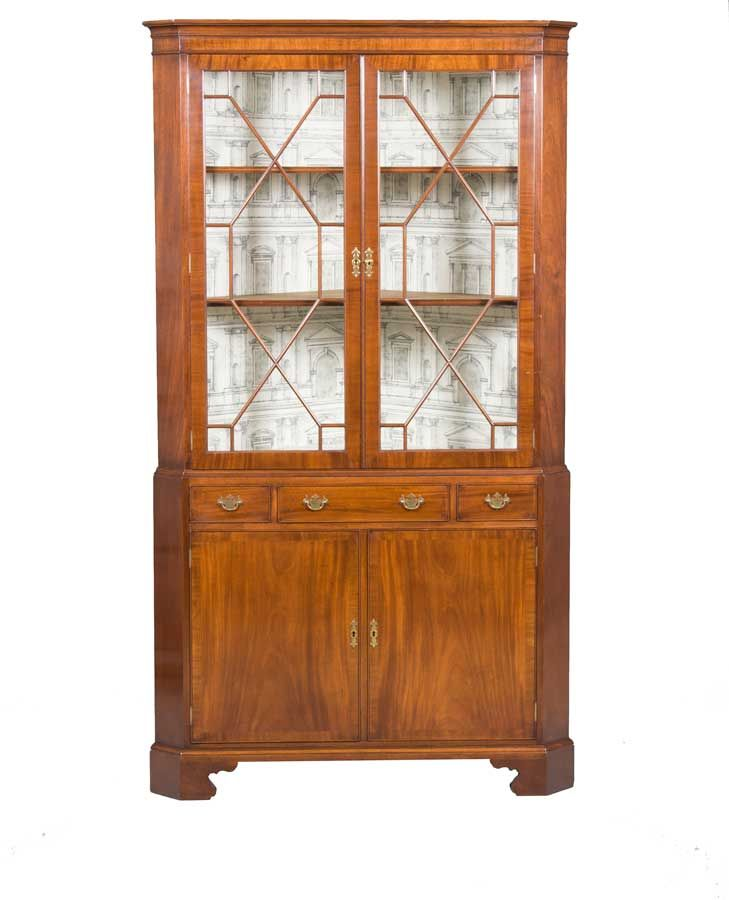 A Stunning Mahogany Double Corner Cabinet From England With Locking Doors  And A Drawer. Large