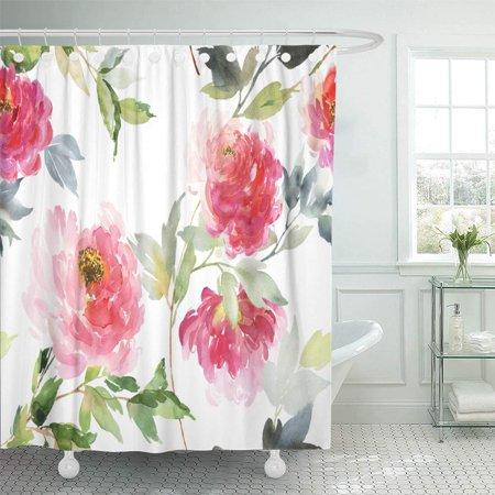 Home Flower Shower Curtain Bathroom Shower Curtains Pink Peonies