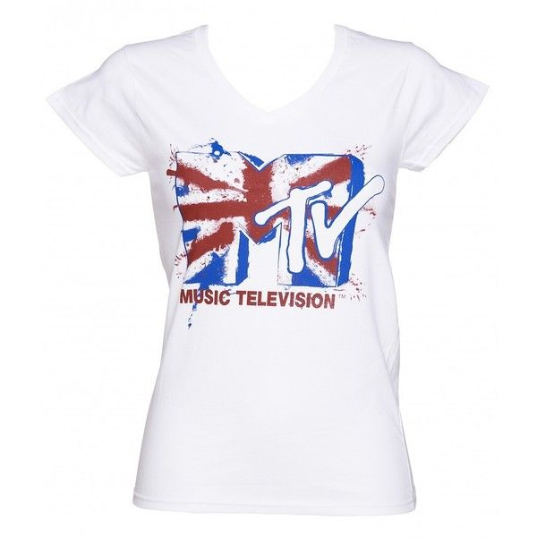 Ladies White Mtv Union Jack Logo T Shirt Vintage Tee Shirts Rad Tee Branded T Shirts