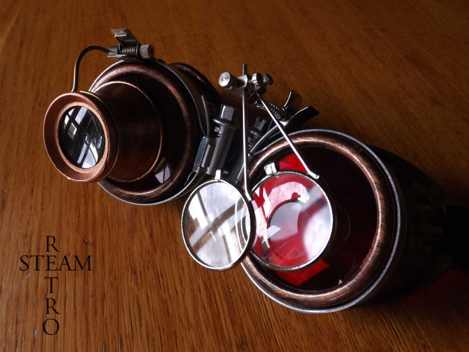6dc237e57d8 10% off sale16 bronze steampunk goggles - double loupe red multi lens cyber  goggles burning man steampunk accessories - steampunk gift by SteamRetro on  Etsy