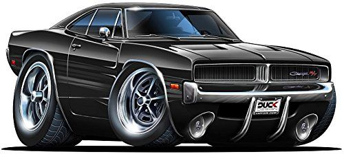 6 1969 1970 Dodge Charger R T Hemi Black Muscle Car Ca Car Cartoon Car Illustration Cool Car Drawings