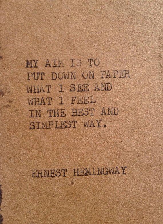 Citaten Hemingway : The hemingway 2: typewriter quote on 2.5 x 5 tag bookmark on etsy