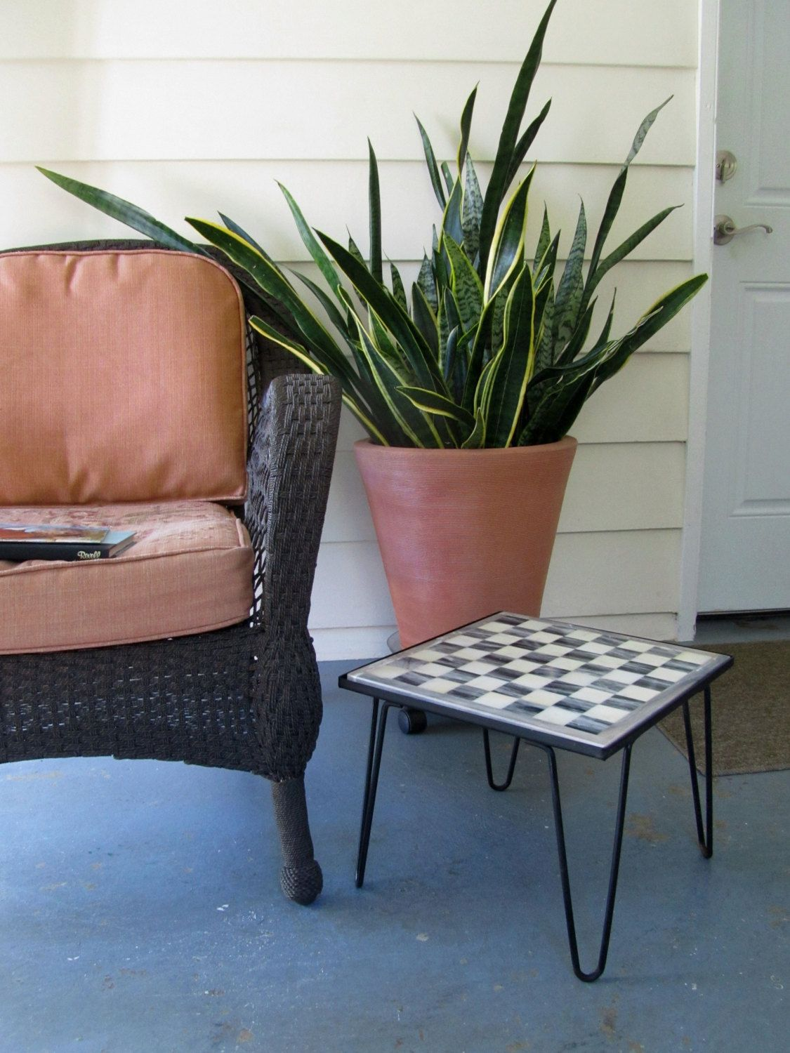 Mid Century Modern Side Table, Hairpin Legs, Mexico Onyx Chess ...