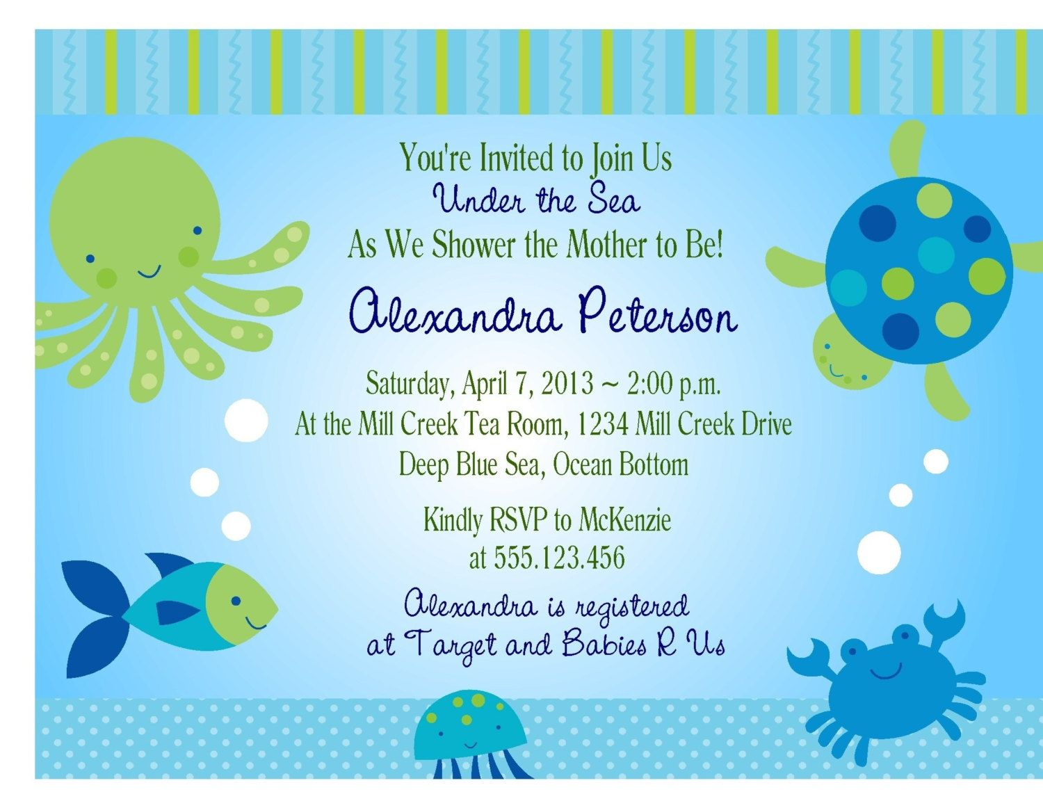Under the Sea Baby Shower Invitations Free Templates | Invitations ...