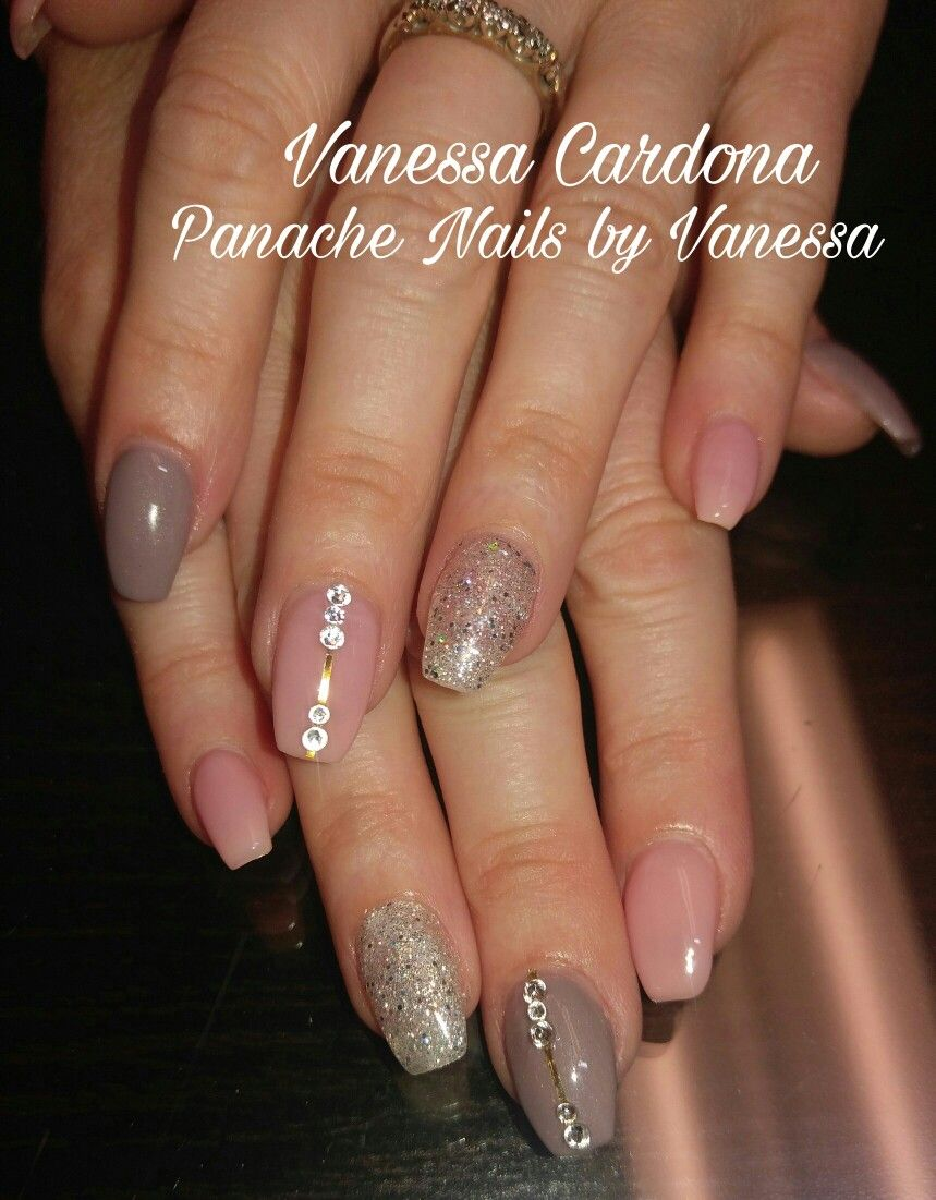 Coffin Shaped Acrylic Nails Glitter Accent Natural Pink Beige Neutral Color Nails Swarovski Crystals Overl Acrylic Nails Glitter Nails Acrylic Nail Colors