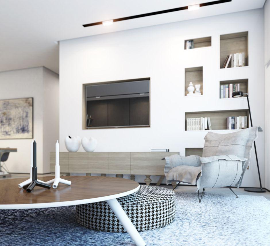 otomana redonda preciosa en el salón moderno | Sala | Pinterest ...