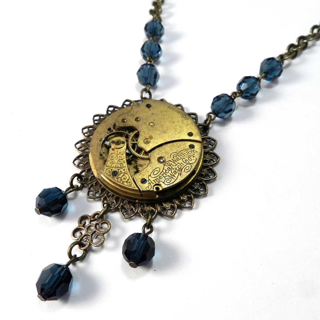 Luxe Clockwork Gilded 1890s Watch Necklace Blue Crystal Anne