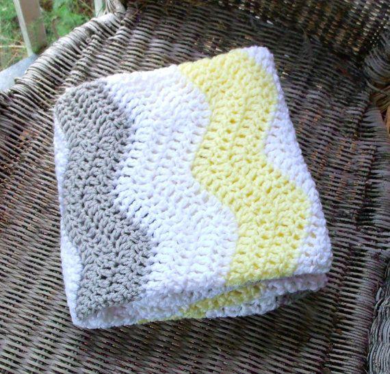 Chevron de bebé del ganchillo manta, amarillo y gris regalos bebé de ...