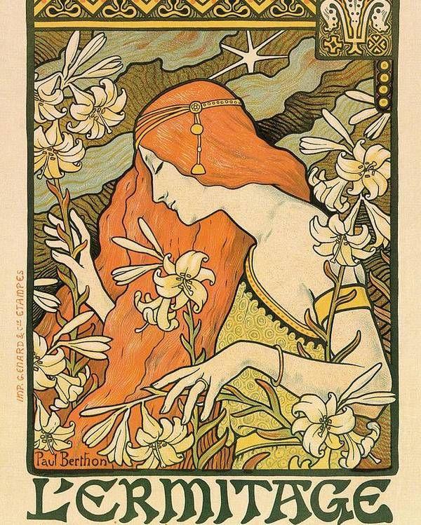 L'Ermitage - Alphonse Mucha - Art Nouveau Poster Poster by Studio Grafiikka