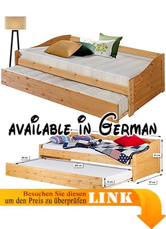 B0751ZZWV2 : SIERRA Bett Mit Bettkasten Ausziehbett Tagesbett Gästebett  Landhaus 90x200 Cm Kiefer Massiv Geölt. Praktisches Ausziehbett 90x200 Cm Mu2026