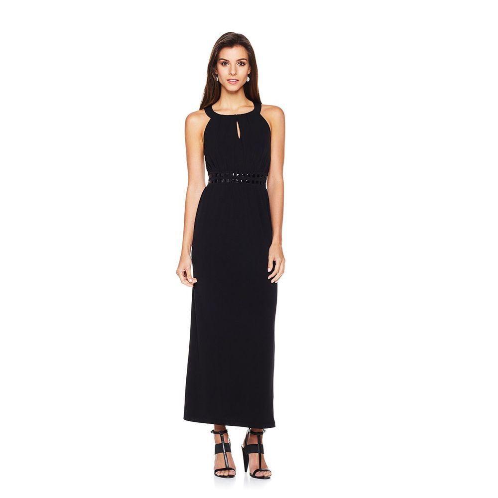 Carmen marc valvo black embellished halter maxi dress size m