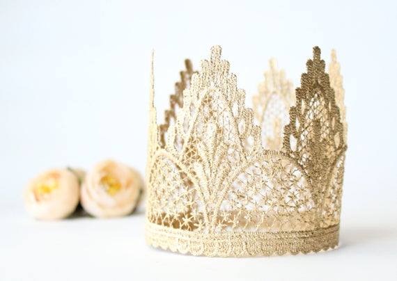 First Birthday Crown Tiara Headband - Adeline - Birthday Crown - Gold - Lace - 1st #crownheadband
