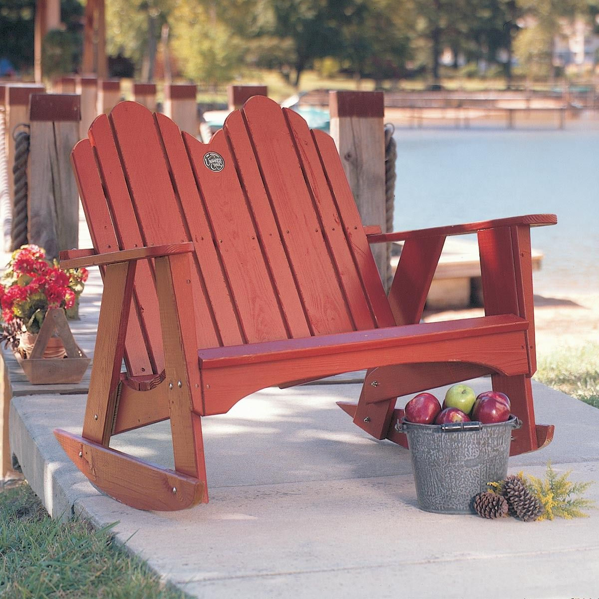 Original 1053 Red Outdoor Pine Two Seater Rocking Chair