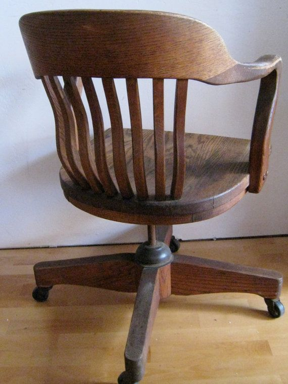 Oak desk chair art deco Swivel tilting by robinstreasurechest & Oak desk chair art deco Swivel tilting rolling office chair ...