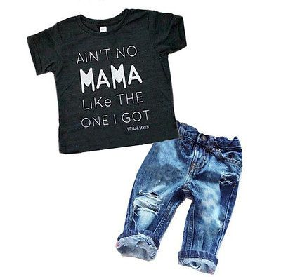 118e827b26fb Newborn Toddler Infant Baby Boy Clothes T-shirt Top Tee +Denim Pants  Outfits Set