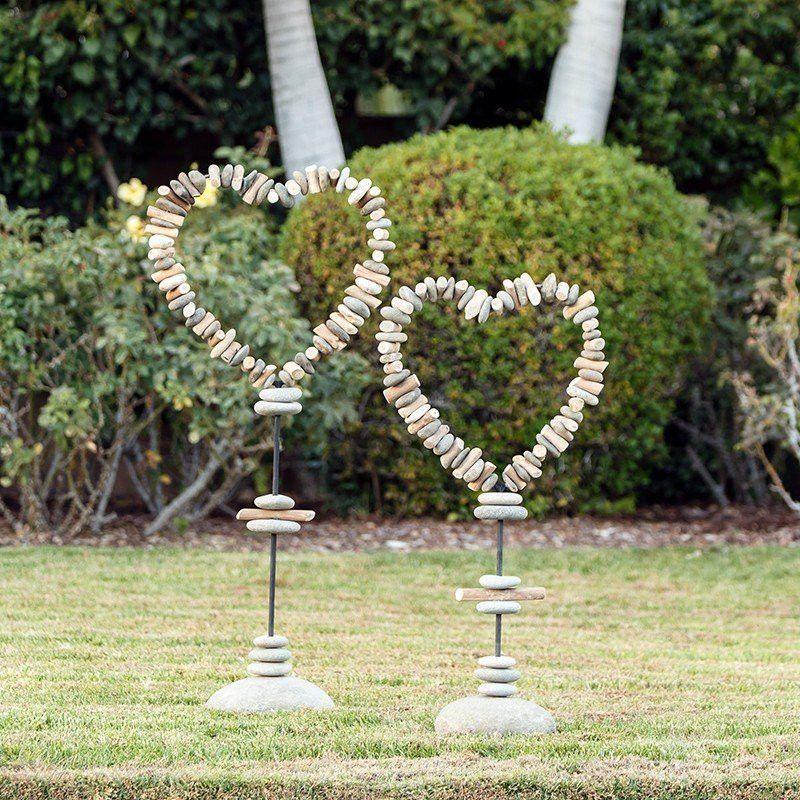 Driftwood & Beach Pebble Heart Shape Garden Stakes