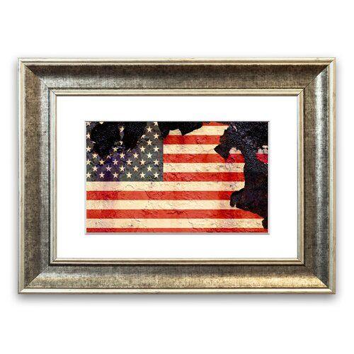 East Urban Home Gerahmtes Poster Amerikanische Flagge mit Rissen | Wayfair.de