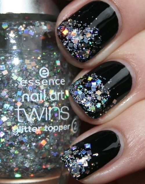 Black nails with glitter tips do it yourself pinterest black black nails with glitter tips new years solutioingenieria Choice Image