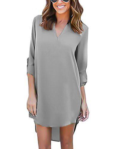 isassy chemisier femme manches 3 4 en mousseline de soie robe chemise tunique blouse fluide chic. Black Bedroom Furniture Sets. Home Design Ideas