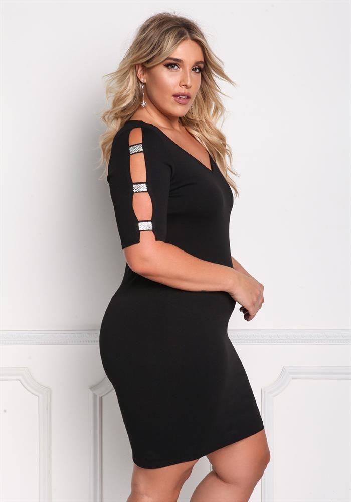 Plus Size Clothing Plus Size Rhinestone Strap Cut Out Bodycon