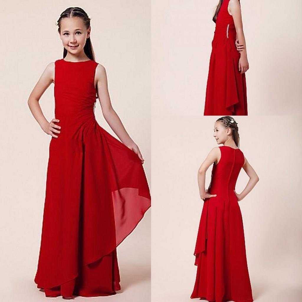 Cheap Flower Girl Dresses Discount Sheath Column Red Flower Girl