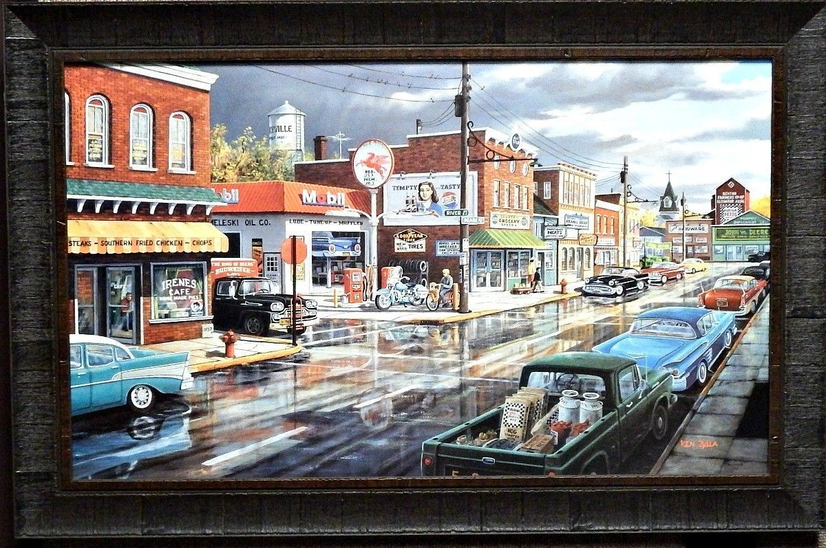 """Old Time Downtown Art Print 11/"""" x 8/"""" Ken Zylla Reflections of Main"""