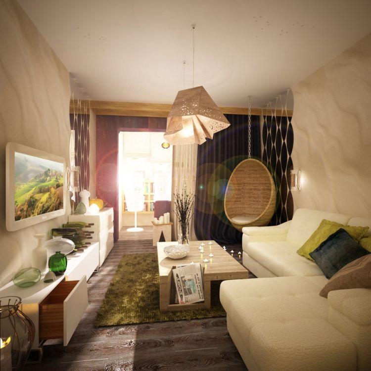 Ideen Für Das Kleine Wohnzimmer -Modern-Licht-Haengesessel-Ecksofa