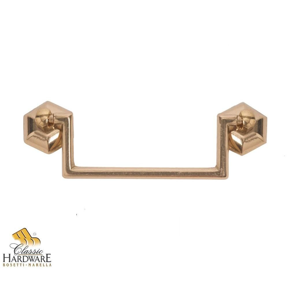 1800 circa 5.03 in. polished brass drop pull | hardware, polished