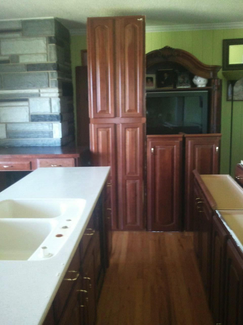 Better view of the colors. Cabinets are dark maple. Love ... on Countertop Colors For Maple Cabinets  id=94616